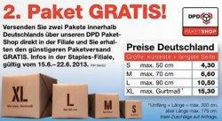 [Lokal] 50% Rabatt auf DPD-Pakete bei Staples, 2 Pakete zum Preis von 1 verschicken