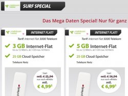Mega Daten Special bei Sparhandy, z.B. 3GB Datenflat für eff. 4,99 €/Monat im Telekom Netz