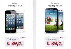 Neuer Live-Deal bei Sparhandy: iPhone5, Galaxy S4, Sony Xperia Z oder HTC One OHNE Zuzahlung inkl. Alles-Flat für nur 39,99 im Monat