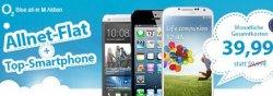 o2 Blue Allnet-Flat mit iPhone 5, Galaxy S4 oder HTC One für nur 39,99 Euro im Monat @Logitel.de