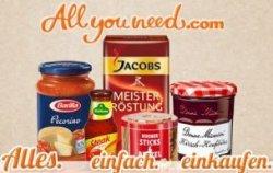 Online-Supermarkt Allyouneed: 8€ Gutschein – auch für Bestandskunden (40€ MBW)