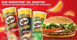 Pringles mit Gutschein für einen Burgerking Wopper Jr. (~2,49€) für 1,10€ am Super-Samstag bei Lidl