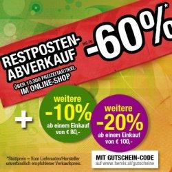 Restposten Abverkauf! – bis zu -60%! PLUS bis 20% Rabatt! oder 10€ ab 30€ MBW! @Hervis