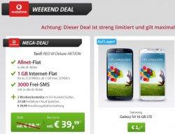 Weekend-Deal bei Sparhandy: Vodafone Allnet-Flat mit Samsung HTC One, Galaxy S4 oder iPhone5 für nur 39,99 Euro im Monat