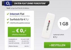 1 GB Flat kostenlos bei O2 dazubuchen – Angebot von Sparhandy
