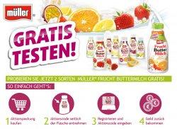 Müller Frucht Buttermilch gratis testen durch Cashback