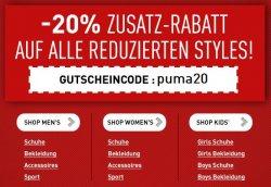 Puma -20% Zusatz Rabatt auf alle reduzierten Styles mit Gutscheincode
