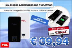 TCL Mobile Ladestation Ladegerät mit 10000mAh für 39,94€ statt 89,94€ @Deals.preisvergleich.de