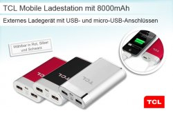 TCL Mobile Ladestation mit 8000mAh für Smartphones etc. über USB- und micro-USB für 29,94€ @Shopping.de