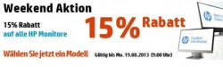 15% Rabatt auf alle HP Monitore! @HP (z.B. für 92,65€ satt 104,16€)