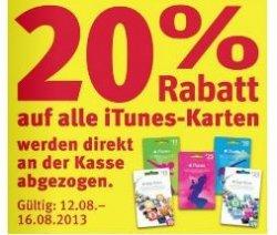 [Lokal] 20% Rabatt auf iTunes Karten bei Rossmann