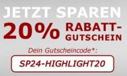 """20 % Rabatt zusätzlich auf alle Artikel der Kategorie """"Highlights"""" durch Gutscheincode @sp24"""