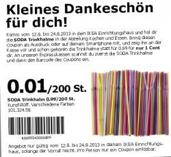 [Lokal @IKEA] 200 Strohhalme für 0,01€ mit Coupon