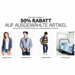 50% Rabatt auf ausgewählte Artikel + 25% Gutschein + 5€ Gutschein @H&M