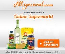 6 Euro Gutschein für den Allyouneed Online-Supermarkt + 7 Euro Gutschein für Registrierung