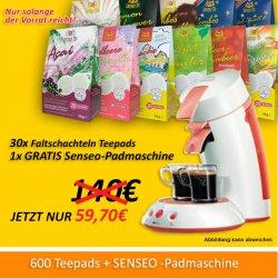 600 Teepads für 59,70 Euro + gratis Senseo Kaffeepadmaschine inkl. Versandkosten @lawrence-shop.de