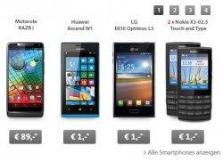 BigDeal – Smartphones ab 1€ oder z.B. Motorola RAZR i für 89€ + keine Fixkosten @Sparhandy.de
