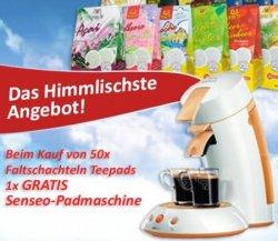 Gratis Senseo Padmaschine beim Kauf von 1000 Teepads (50 Packungen) im Wert von 99,50€ @Lawrence.de
