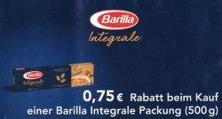 [Lokal] Gutschein downloaden und 0,75€ beim Kauf einer Packung Barilla Integrale Nudeln bekommen! Die Woche mit Gutschein für 0,04€ bei Real erhältlich!