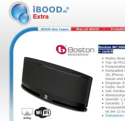 iBOOD extra-Deal: Boston MC200 Airplay schwarze Wireless Lautsprecher für nur 139,95 Euro