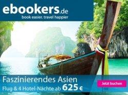 Kostenlose 15%, 17% und 20% Gutscheine für Hotels bei ebookers.de