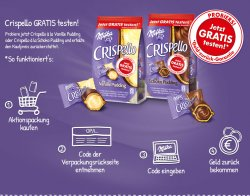 Milka Crispello (Vanille-/ Schoko Pudding) gratis testen