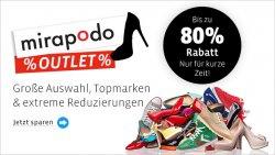 MIRAPODO-OUTLET: Bis zu 80 Prozent Rabatt + 8 Euro Gutscheincode