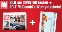 [Mit GEWINN] Bild am Sonntag für 13,70 € und 20 € McDonalds-Gutschein kassieren