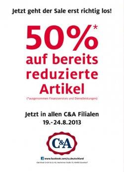 [Lokal @C&A Filialen] nochmal -50% Rabatt auf bereits reduzierte Artikel – vom 19.-24.08 in allen Filialen