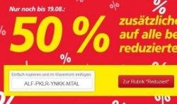 Real Onlineshop: mit Gutschein zusätzlich 50% auf alle bereits reduzierten Artikel