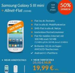 Samsung Galaxy S3 Mini + o2-Allnet-Flat nur 19,99€ mtl.zzgl. 1€ Zuzahlung ohne Anschlussgebühr