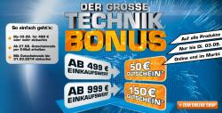 @Saturn: Der große Technik Bonus mit einem Gutschein, z.B. 50€ Gutschein ab 499€ Einkaufswert, 150€/999€ Einkaufswert
