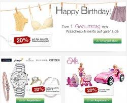 Sonntags Angebote bei Galeria Kaufhof mit bis zu 20% Rabatt