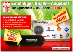 10 Ausgaben der AUTO BILD  + 8GB Transcend USB-Stick für effektiv 1,10€ @Lesershop24