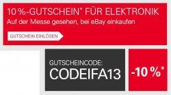 10% Gutscheincode für Elektronik, Haushaltsgeräte und Auto-Hi-Fi & Navigation auf eBay