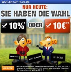 10€ oder 10% Plus.de Gutscheincode – Nur Gültig am 22.09.13 MBW 60€