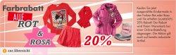 20% Farbrabatt auf Rot & Rosa @MyToys