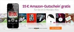 3 Monate Probeabo für Audible buchen (29,85€) und einen 25€ Amazon-Gutschein als Prämie erhalten