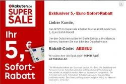 5 Euro Gutschein (MBW 30€) – auch für den Supersale @Rakuten