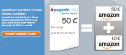 60 Euro Amazon Gutschein für 50 Euro über paysafecard