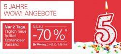 ab 21.09. 8 Uhr bis zu -70 % bei 5 Jahre WOW! Angebote @eBay – nur bis Montag 7:59 Uhr