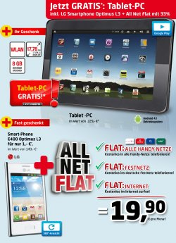 Allnet-Flat inkl. 500MB Datenflat + Tablet + LG Optimus L3 für 19,90€ monatlich @Handyservice