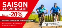 Cube Saison Ausverkauf, über 20% auf alle Cube 2013 Modelle + Versandkostenfrei! + 10€ gutschein