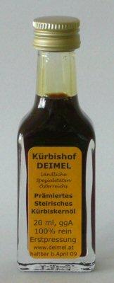 Gratisprobe 20 ml Kürbishof DEIMELs Steirisches Kürbiskernöl