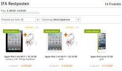 Apple iPad 2 3G für 429€, iPod Touch 64GB für 299€ und weitere…– IFA-Special @Gravis