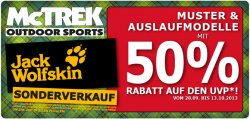 Jack Wolfskin Sonderverkauf bei Mc TRECK: Muster- und Auslaufmodelle mit 50% Rabatt auf den UVP