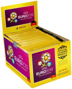Panini Sammelsticker UEFA Euro 2012, 1  Display mit 100 Tüten mit je 5 Stickern, original deutsche Version für 5,40€ zzgl 4€ Versand @Amazon