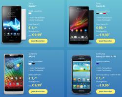 Samsung Galaxy S3, Sony Xperia T oder Motorola RAZR i für nur 1 € mit o2 Vertrag für mtl 9,99 €