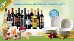 12 Flaschen Wein + Ital. Spezialitäöten + Tellerservice nur 39,90€ @Giordano