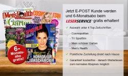 1/2 Jahr COSMOPOLITAN, TV SPIELFILM, MEIN SCHÖNER GARTEN oder MEN'S HEALTH gratis für E-postanmeldung